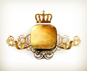 Vintage Frame gold crown, old-style vector isolated