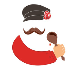 Russian man in a hat with a mustache and a spoon