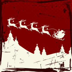 Santa Sleigh 4 Flying Reindeers Beige Retro Red Background