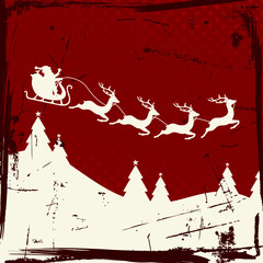 Christmas Sleigh 4 Flying Reindeers Beige Retro Red Background