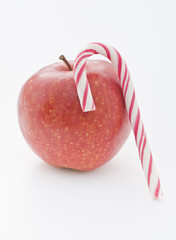 Red apple and Candy Cane