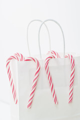 White paper bag and Candy Canes