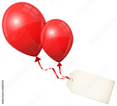 2 Flying Red Balloons & Beige Label