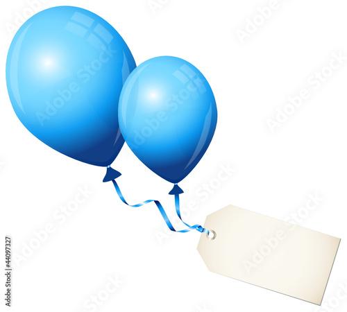 2 Flying Blue Balloons & Beige Label