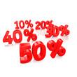 Rabatte, Prozente in 3D Schrift
