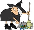 Witch using a broom and dustpan