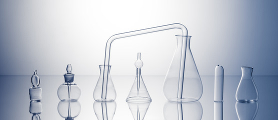 Empty laboratory glassware