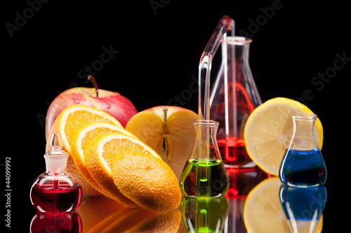 Laboratory glassware with fruits