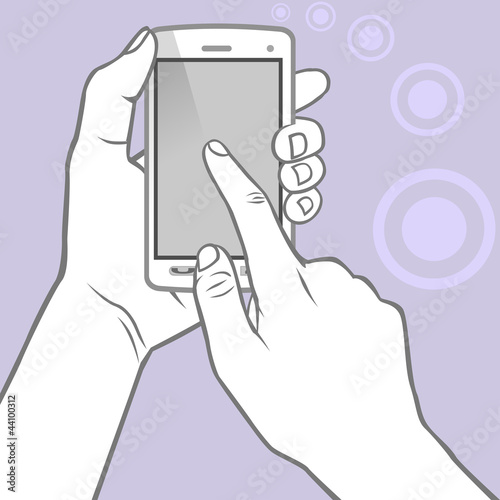 Hands holding smartphone and touching the screen