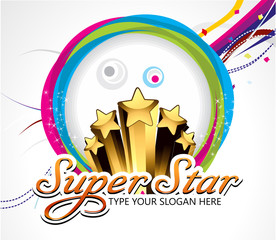 super star background with cirlcle