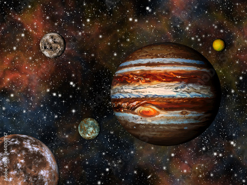 3D Solar System. Jupiter and its 4 largest moons.