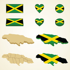 Jamaica Map blank and regional, Vector 3D pack