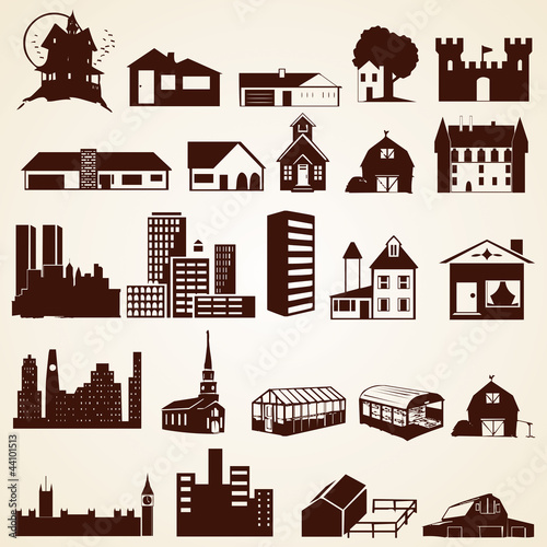 Houses buildings silhouettes, vector set of various buildings