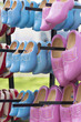Pink and blue wooden clogs