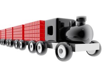 Tren de juguete con mercancías