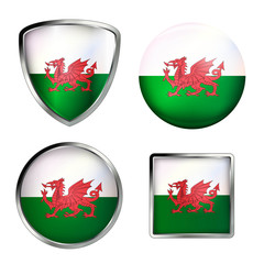 wales flag icon set