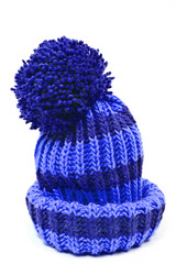 blue knitted woolen hat