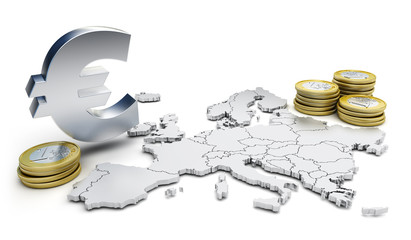 Euro symbol and coins - Concept