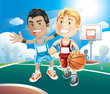 Kids playing basketball on outdoor court. vector illustration ca