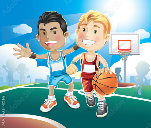 Fototapeta Kids playing basketball on outdoor court. vector illustration ca