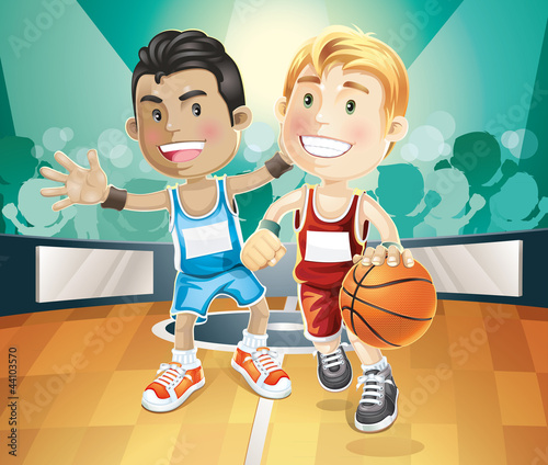 Fototapeta Kids playing basketball on indoor court. vector illustration car