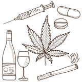 Illustration of narcotics - marijuana, alcohol and other
