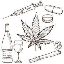Ilustracja z narkotyków - marihuany, alkoholu i innych