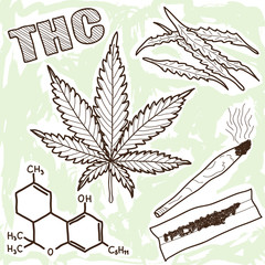 Illustration of narcotics - marijuana