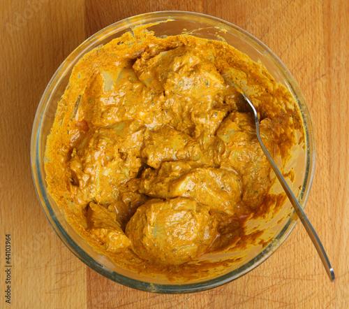 Marinating Chicken Tikka Meat