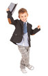 Greeting cool pretty stylish little boy isolated on white
