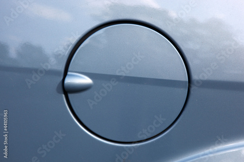 A close up of a petrol cap cover on a modern car.