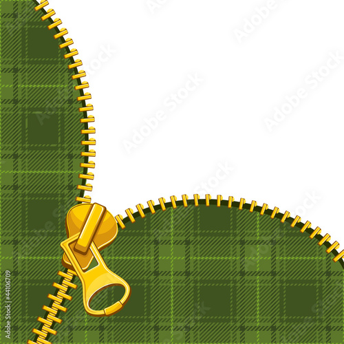 Zipper on tartan background