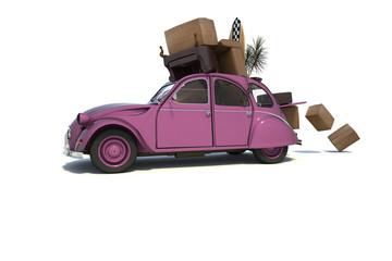 Umzug mit überladenem Auto