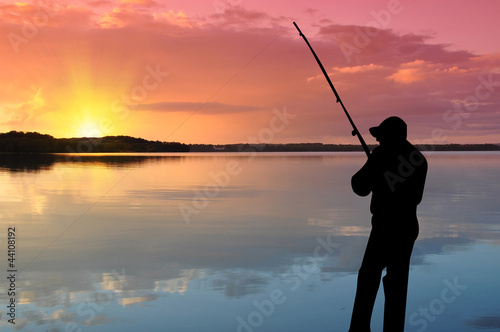 canvas print picture Angler in Aktion