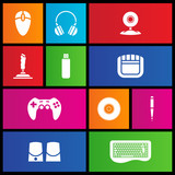 Various metro style icons of PC accessories