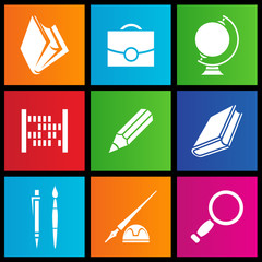 vector illustration of metro style school objects