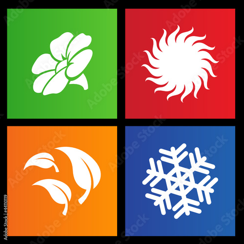 vector illustration of metro style four seasons icons