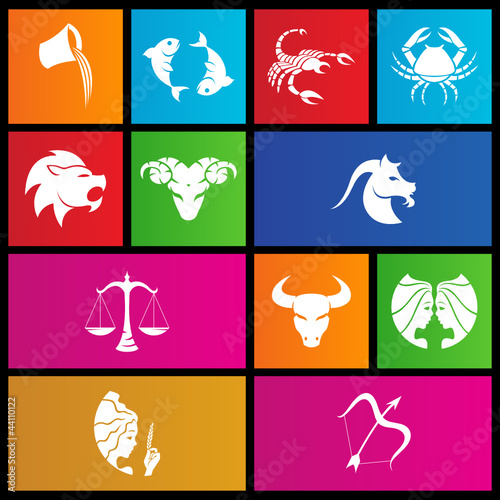 vector illustration of metro style zodiac star signs