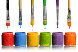 Fototapety Paintbrushes Dripping into Paint Containers