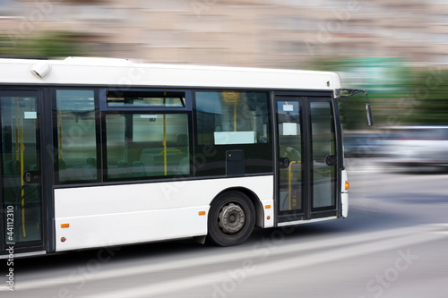 canvas print picture white city bus