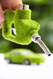 hand holding eco fuel nozzle,energy concept