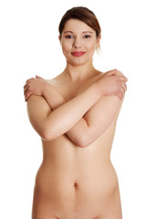Nude overweight woman