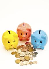 Colourful piggy bank money boxes
