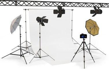 3d empty photo studio interior with equipment