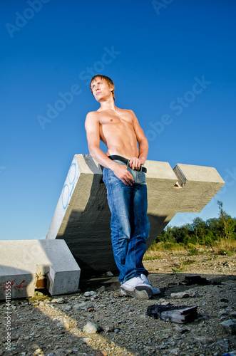 Handsome man posing on construction site