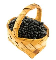 Fresh bilberry in a wattled basket.