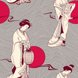 Vector of traditional Japanese Geisha seamless pattern