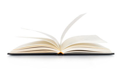 White opened book with blank pages