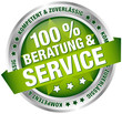 """Button Banner """"100 % Beratung & Service"""" grün/silber"""