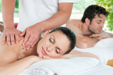 Naklejka Couple relaxing with massage